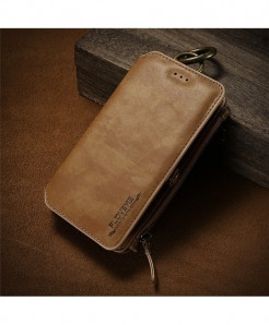 FLOVEME Classical Brown Business Leather Wallet Phone Case
