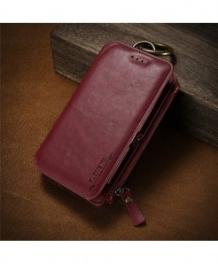 FLOVEME Zeal Red Business Leather Wallet Phone Case