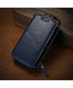 FLOVEME Charming Blue Business Leather Wallet Phone Case