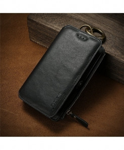 FLOVEME Black Business Leather Wallet Phone Case