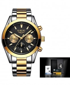 LIGE Steel Golden Black Quartz Watch