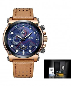 LIGE Leather Gold Blue Automatic Quartz Waterproof Watch
