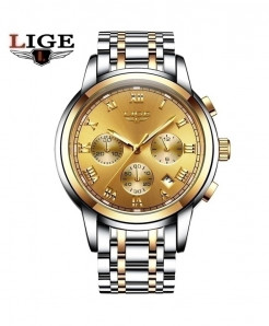 LIGE Gold Chronograph Waterproof Watch