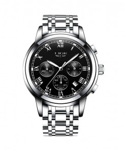 LIGE Sliver Black Chronograph Waterproof Watch