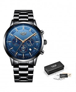 LIGE Black Rose Blue Waterproof Quartz Watch