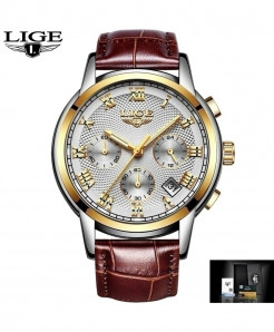 LIGE Golden White Leather Strap Quartz Watches