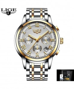 LIGE Golden White Waterproof Steel Quartz Watches