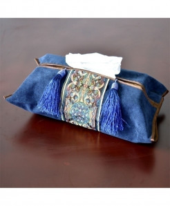 Pack of 2 Blue Embroidery Tissue Box Holder