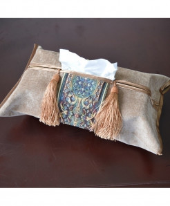 Pack of 2 Camel Brown Embroidery Tissue Box Holder