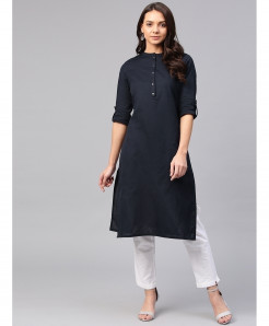 Navy Straight Button Style Ladies Kurti ALK-200