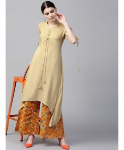 Khaki Airline Frock Laces Style Ladies Kurti ALK-198