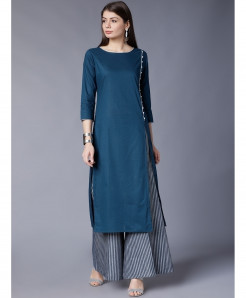 Ink Blue Side Laces Style Ladies Kurti ALK-194