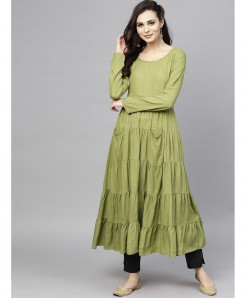 Sage Olive Pocket Frock Style Ladies Kurti ALK-193