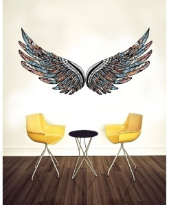 Varicolored Wings Stylish Design Wall Decal BNS-432