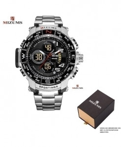 Mizums Coffee Steel Band Military Clock Waterproof LED Digital Watch