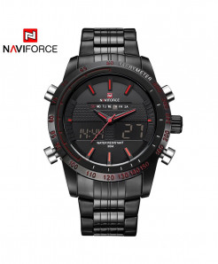 NAVIFORCE Black Red Sport Digital Analog Full Steel Watch AT-281