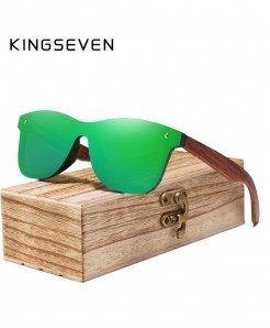 KINGSEVEN Green Rimless Polarized Wood Sunglasses