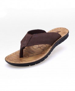 Brown Stitched Stylish Leather Flip Flop Slippers