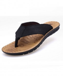 Black Stitched Stylish Leather Flip Flop Slippers