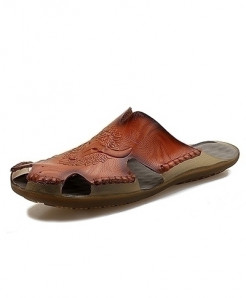 Times New Roman Brown Hollow Out Breathable Sandals