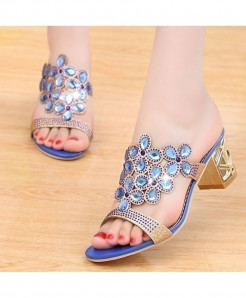 Lucyever Blue Rhinestone Hollow Out Chunky Flip Flops