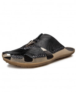 ZUNYU Black Buckle Leather Non-slip Beach Sandals