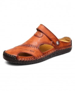 Vancat Red Brown Leather Classic Roman Sandals