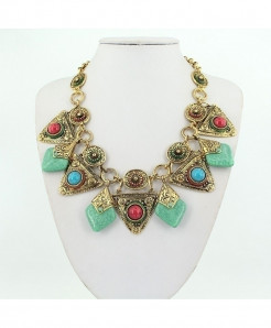 JIANXI Golden Vintage Resin Choker Chain Collar Necklace