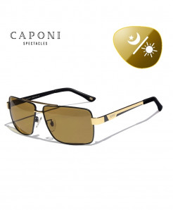 CAPONI Golden Curvy Square Shaped Photochromic Sunglasses