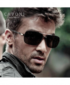 Caponi Black Square Avaitor Photochromic Sunglasses