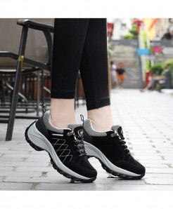 Qixing Black Comfortable Breathable Platform Casual Shoes