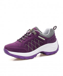 Qixing Purple Comfortable Breathable Platform Casual Shoes