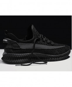 Drengoasid Black Woven Breathable Air Cushion Mesh Casual Shoes