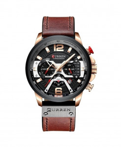 CURREN Rose Black Military Analog Leather Sports Watch
