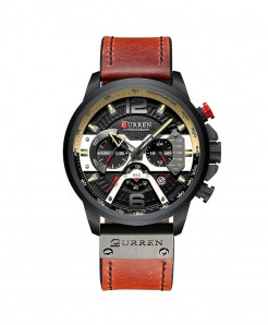 CURREN Black Military Analog Leather Sports Watch