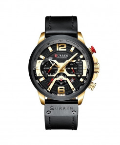 CURREN Golden Black Military Analog Leather Sports Watch