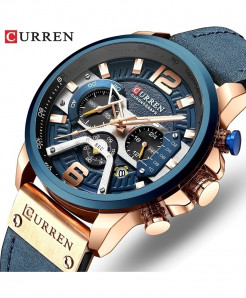 CURREN Rose Gold Blue Military Analog Leather Sports Watch