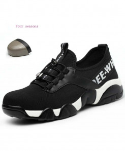 JUNSRM Black Steel Nose Safety Lightweight Breathable Casual Shoes