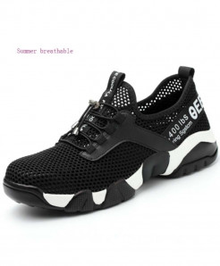 JUNSRM Black Steel Toe Lightweight Breathable Reflective Casual Shoes