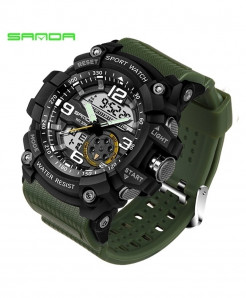 SANDA Army Green Military 3ATM Waterproof G Style Sport Watch