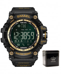 SMAEL Black Golden Bluetooth Chronograph Sport Smart Watch