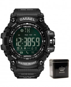 SMAEL Black Bluetooth Chronograph Sport Smart Watch