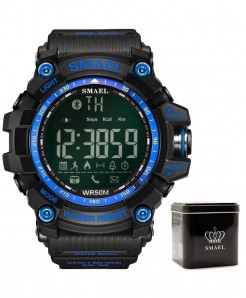 SMAEL Blue Bluetooth Chronograph Sport Smart Watch