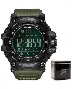 SMAEL Army Green Bluetooth Chronograph Sport Smart Watch