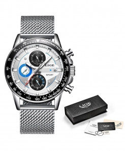 LIGE Silver Mesh Chronograph Stainless Steel Waterproof Watch