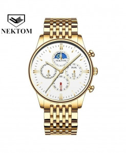 NEKTOM Silver Golden Two Tone Mesh Waterproof Chronograph Stainless Steel Watch