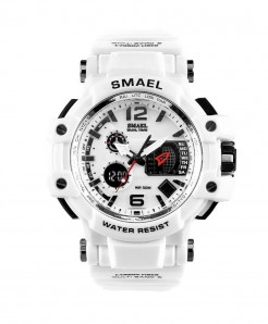 SMAEL White Sport LED Digital 50M Waterproof S Shock Watch