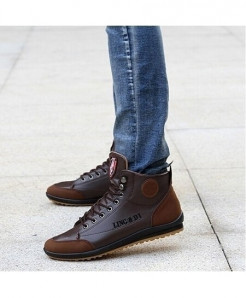 Coffee Leather Warm Cotton Ankle Lace Up Casual Shoes