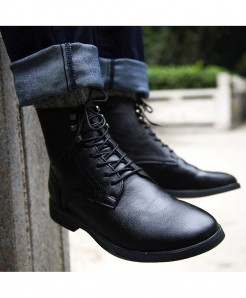 COSIDRAM Black Warm Ankle Pu Leather Boots