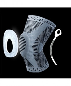 Gray Knee Protector Brace Silicone Spring Knee Pad